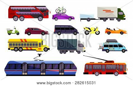 Set Of Various Land Vehicles. Automobiles, Public Transport, Trucks. Can Be Used For Topics Like Tra