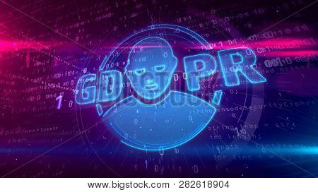 Gdpr - General Data Protection Regulation Law On Digital Background. Human Face Symbol As Privacy Se