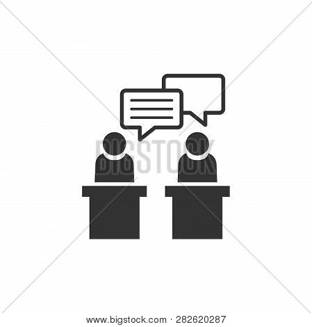 Politic Debate Icon In Flat Style. Presidential Debates Vector Illustration On White Isolated Backgr