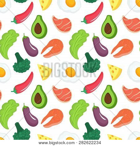 Keto Diet Seamless Pattern. Ketogenic Food With Organic Vegetables, Meat And Fish. Low Carb Nutritio