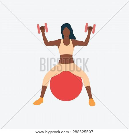 Training With Dumb-bells On Exercise Ball Flat Icon. Girl, Woman, Sitting. Fitness Concept. Can Be U