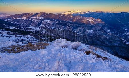 Panoramic View From Vettore Mountain At Sunset