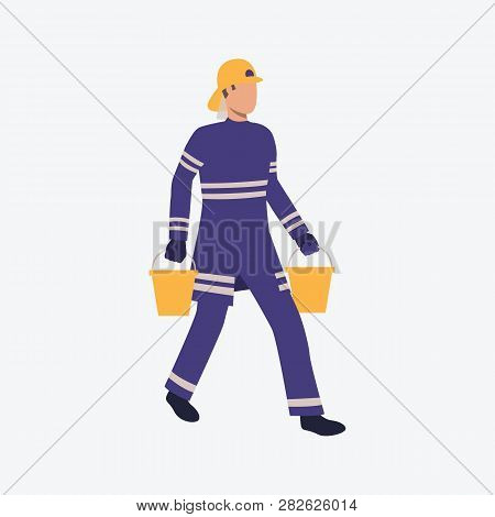 Young Firefighter Running With Buckets Of Water. Fire, Rescue, Help. Can Be Used For Topics Like Ext