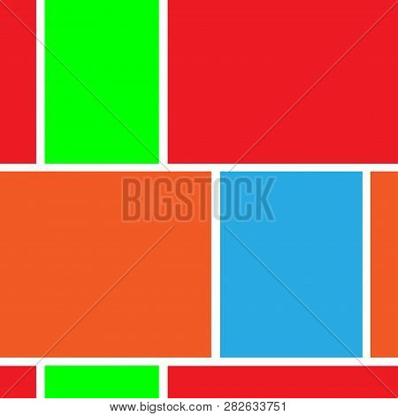 seamless geometric background with rectangles, colored rectangles on white background poster