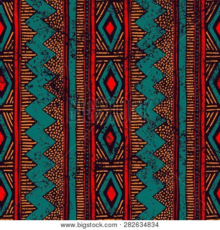 Seamless Ethnic Ornament. Aztec And Tribal Motifs. Ornament Drawn By Hand. Blue, Red And Orange Colo