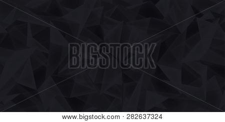 Abstract Black Background, Glass Crystals Texture, Many Triangles Dark Wallpaper, Vector Design