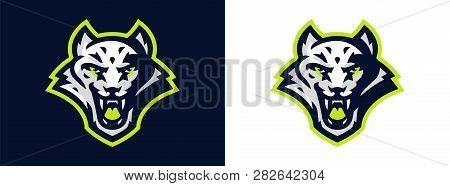 Snow Leopard Logo. Wild Animal, Leopard, Snow Beast, Predator, Cat. Sports Logo, Vector Illustration