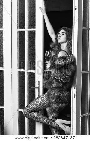 Woman Seductive Model Wear Luxury Fur And Elite Lingerie. Confident In Her Magnetism. Seduction Art