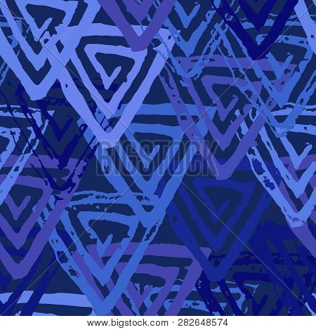 Seamless Pattern With Textured Triangles. Endless Texture For Unusial Wrapping Or Textile Print With
