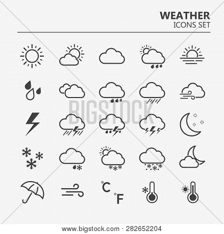 Weather Icons Set. Line Art Vector Simple Outlines Illustrations. Meteorological Infographics Signs.