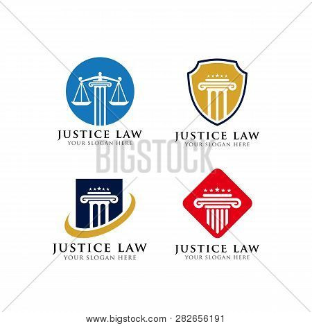 Justice Law Emblem Logo Design Template. Attorney Logo Design