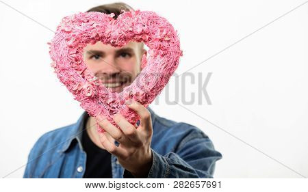Ideas For Romantic Celebration Valentines Day. Romantic Macho. Hipster Hold Heart White Background.