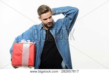 Love And Romantic Feelings Concept. Valentines Day Gift. Romantic Gift. Man With Beard And Happy Fac
