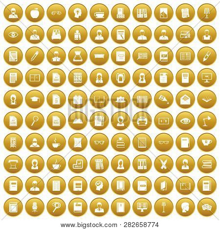 100 Reader Icons Set In Gold Circle Isolated On White Vectr Illustration