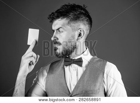 Man Bearded Hipster Hold Plastic Blank Card Blue Background. Take This Card. Make Shopping Easy. Ban