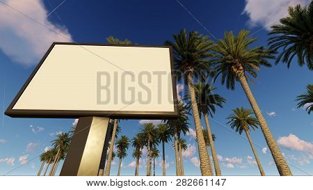 Billboard Mock Up, Tropical Version With Palms, 3d Rendering