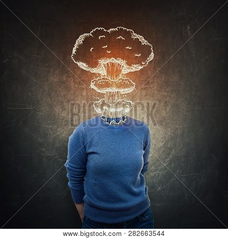Surreal Portrait Stressed Anonymous Young Woman Head Explosion Over Dark Blackboard Background. Ment