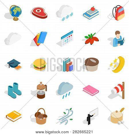 Autumn Journey Icons Set. Isometric Set Of 25 Autumn Journey Icons For Web Isolated On White Backgro
