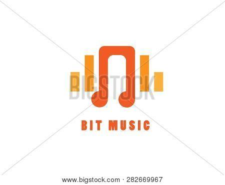 Bit Music Logo Illustration- White Background Illustartion Design