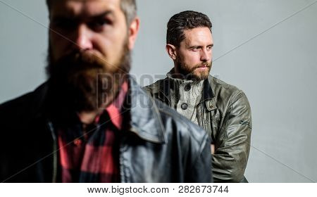 Male Hair Care Tips. Barbershop Concept. Men Handsome With Beard And Mustache Facial Hair. Barber An