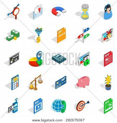 Biz Icons Set. Isometric Set Of 25 Biz Icons For Web Isolated On White Background