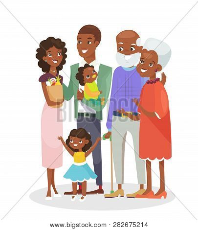 Vector Illustration Of Big Happy Family Portrait. African American Grandparents, Parents And Childre