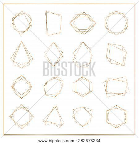 Vector Illustration Of Gold Segments Frames Set Isolated On White Background. Geometric Polyhedron T