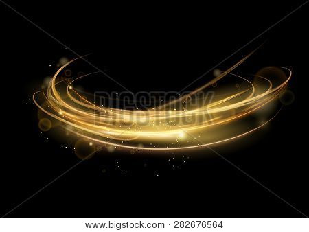 Vector Illustration Of Golden Abstract Transparent Light Effect Isolated On Black Background, Round