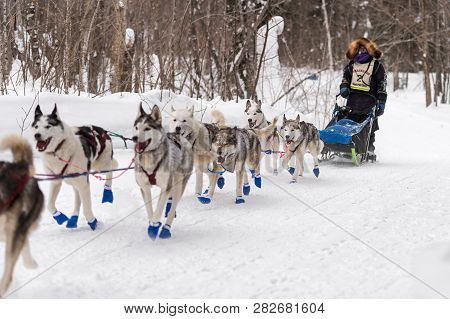 Grand Portage, Mn - January 29, 2019: Jennifer Freking Comes In To Mineral Center Checkpoint During