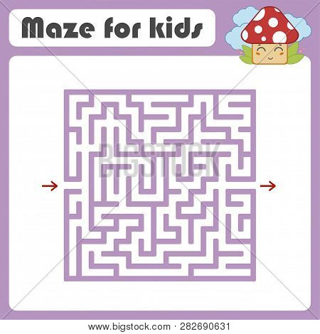 Maze. Game for kids. Funny labyrinth. Education developing worksheet. Activity page. Puzzle for children. Cute cartoon style. Riddle for preschool. Logical conundrum. Color vector illustration poster