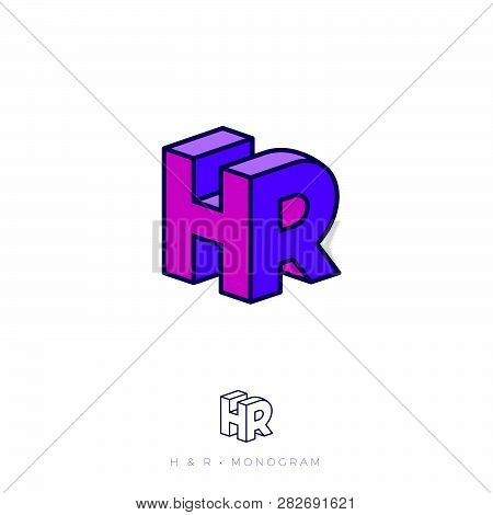 Hr Logo. H And R Letters In Block. Human Resources Logo. Multi Colored Emblem Like 3d. Flat Network,