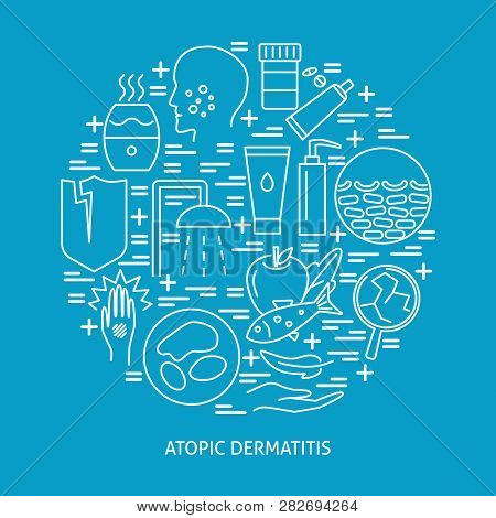 Atopic Dermatitis Symptoms And Treatment Round Concept Banner In Line Style