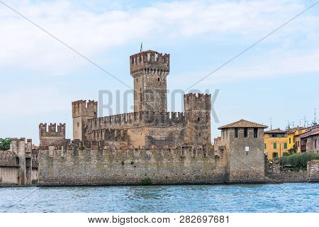 Medieval Castle Scaliger In Sirmione On Lake Garda