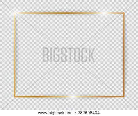 Gold Shiny Glowing Vintage Frame. Golden Luxury Realistic Rectangle Border With Shadows Isolated On