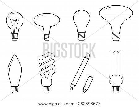 Vector Line Illustration Of Main Electric Lighting Types: Incandescent Light Bulb, Halogen Lamp, Cfl