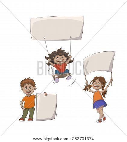 Set Of Kids With Advertising Banners. Cartoon Vector Illustration