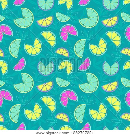 Hand Drawn Sliced Citrus Seamless Pattern. Futuristic Vibrant Bold Color Tropical Fruit Cute Cartoon