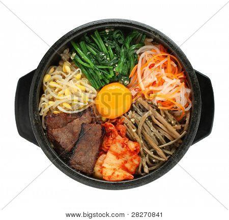 bibimbap in a heated stone bowl, korean dish poster