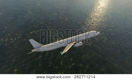 Airplane Flying Over The Blue Sea, 3d Rendering