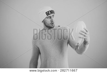 Idea And Creative Concept. Man With Confused Expression Has Idea, Pink Background. Guy With Surprise