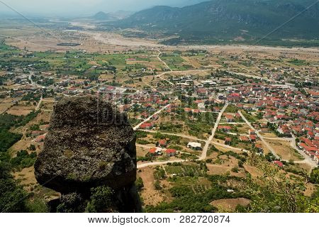 Trikala City In The Valley , Greece Near Meteora