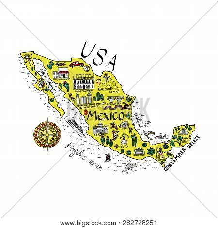 Illustrated Map Of Mexico With The Main Attractions