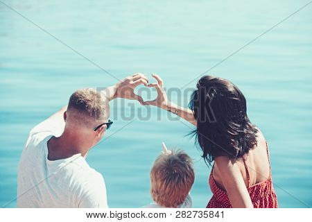 Love And Trust As Family Values. Family Travel With Kid On Mothers Or Fathers Day. Summer Vacation O