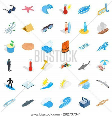 Rest In Beach Icons Set. Isometric Style Of 36 Rest In Beach Icons For Web Isolated On White Backgro