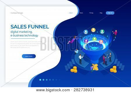 Isometric Online Funnel Generation Sales, Customer Generation, Digital Marketing And E-business Tech