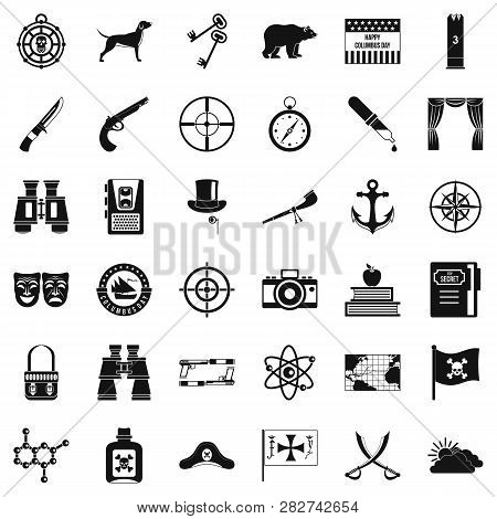 Nature Trip Icons Set. Simple Style Of 36 Nature Trip Icons For Web Isolated On White Background