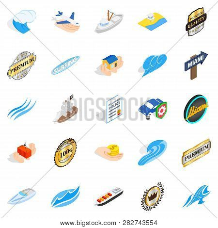 Rest On The Sea Icons Set. Isometric Set Of 25 Rest On The Sea Icons For Web Isolated On White Backg