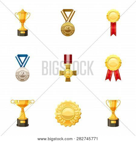 Medals And Awards Icons Set. Cartoon Set Of 9 Medals And Awards Icons For Web Isolated On White Back