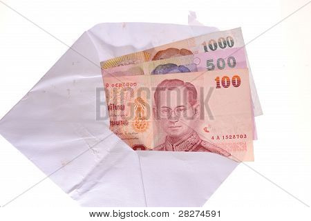 Thai Banknotes In An Envelope