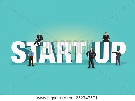Typeface Of Startup Decorated With Office Businessman. Business Concept Of Business Communicating, B